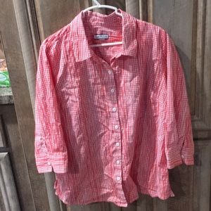 Checkered Women's Size Large Button Down Blouse